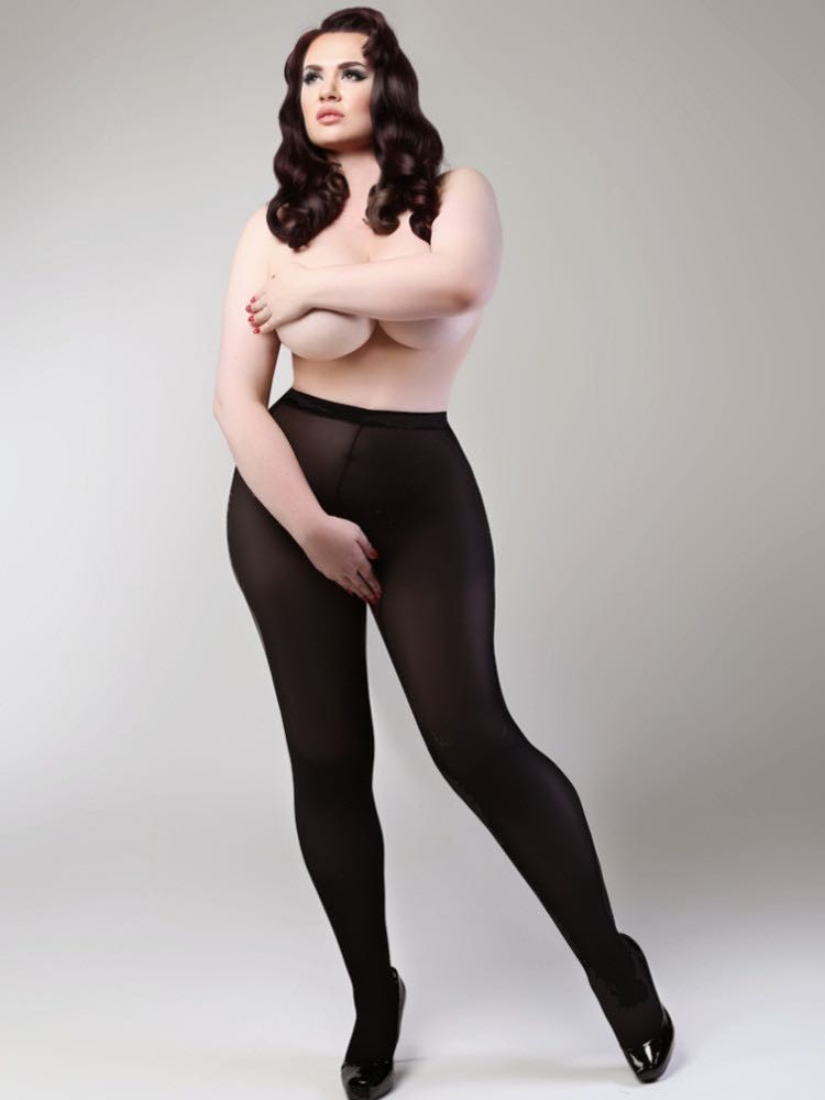 Miss Naughty 100 Denier Blackout Crotchless Tights - One Size to XXXL