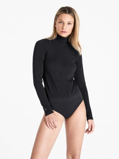 Wolford hosiery loose fitting black high neck, long sleeved bodysuit