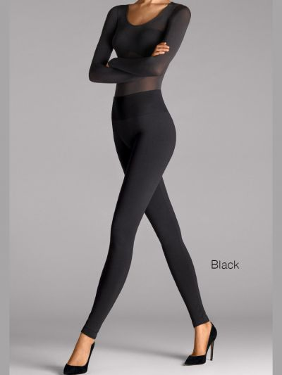 Wolford hosiery black footless leggings with wide waist band