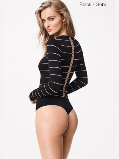 Wolford hosiery black and beige striped bodysuit with lace back detail