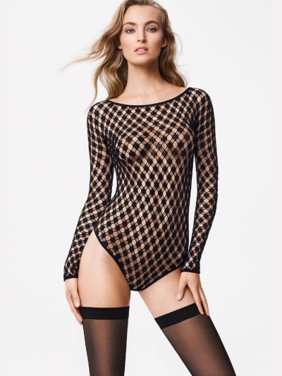 Wolford hosiery black fishnet long sleeved body