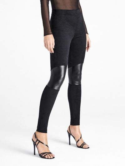 Wolford hosiery suede footless leggings with leather knee panel