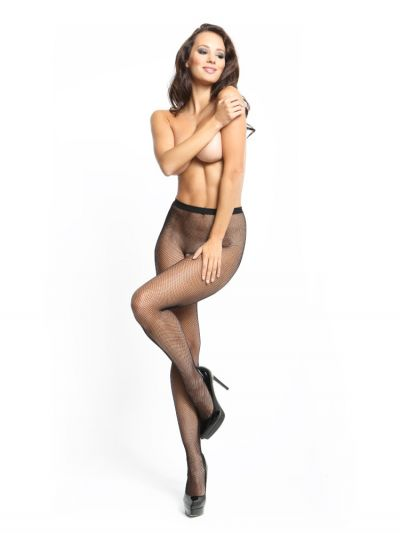 Micro fishnet black open gusset pantyhose