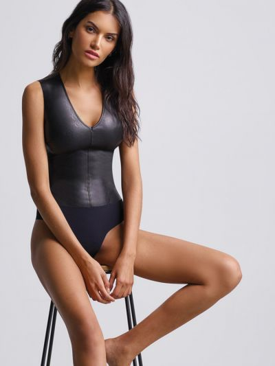 Commando Faux Leather V Neck Bodysuit