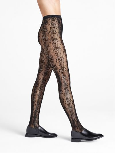 Black fishnet tights with Wolford Tights printed logo