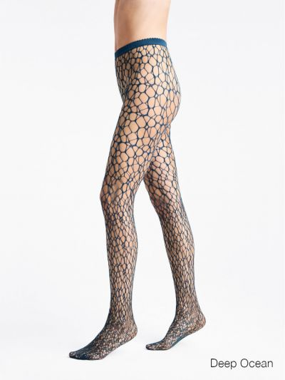 Wolford pantyhose teal circular fishnet tights