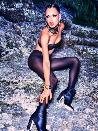 Opaque shiny black wolford pantyhose fashion shot
