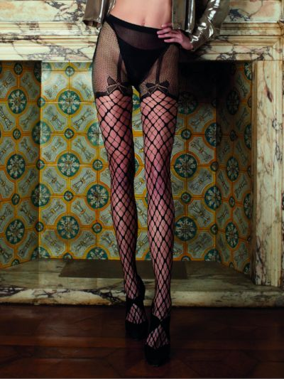 Open gusset pantyhose bow detail fishnet strip panty tights