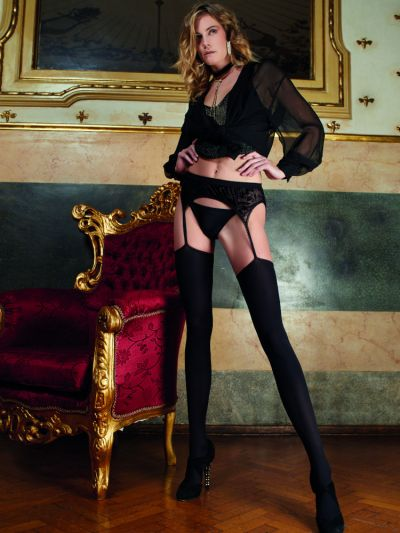 Black scalloped trim opaque strip panty crotchless tights