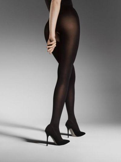 Black opaque open gusset pantyhose