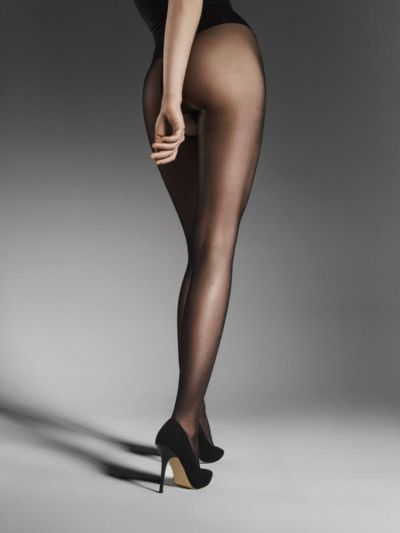 Black shiny crotchless tights