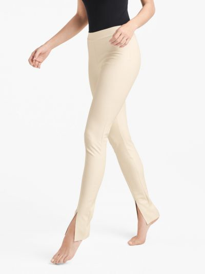 Wolford hosiery white front slit leather leggings