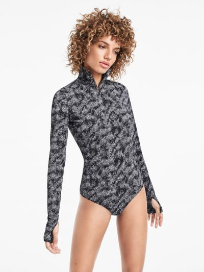 Wolford hosiery grey and black speckled bodysuit with neck zip and thumb loops