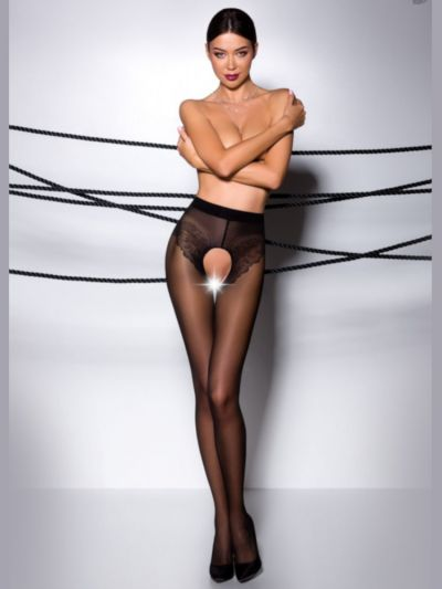 Black sheer crotchless tights with lace detail