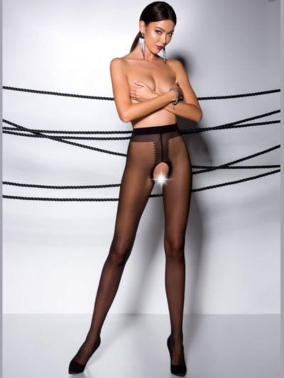 Black 20 denier shiny open gusset pantyhose