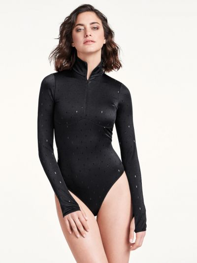 Wolford hosiery sparkle black bodysuit with thumb loop