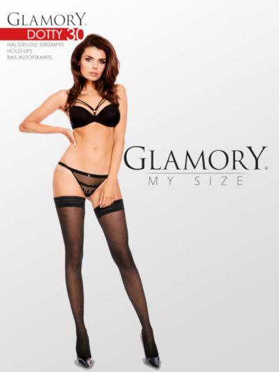 Glamory Dotty 30 Patterned Hold Ups up to 4XL