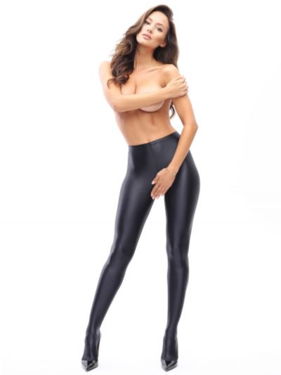 Open gusset pantyhose with high gloss and a  completely opaque finish