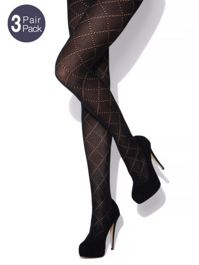 Charnos Diamond Cotton Tights 3 Pair Packs