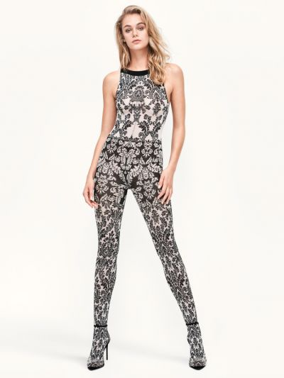 Wolford hosiery rococo motif patterned sleeveless jumpsuit