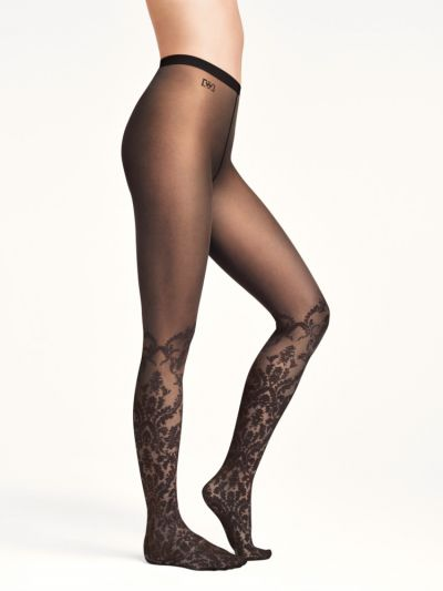 Wolford tights knee high floral design in black