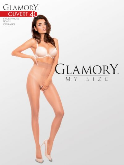 Plus size open gusset pantyhose in make up colour packaging image