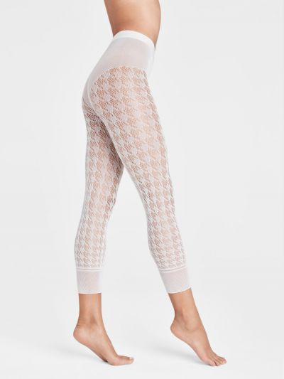 White capri fishnet footless wolford pantyhose