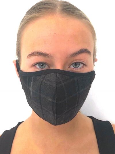 Slanj Grey Tartan Patterned Face Mask