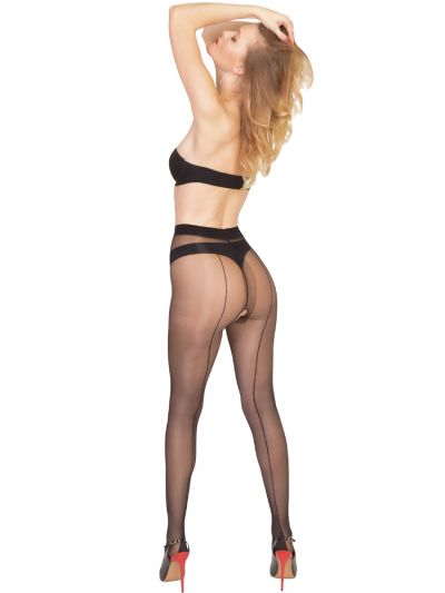 Pearl And Poseidon Calista Crotchless Seamed Tights