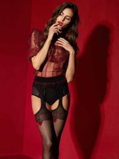 Fiore Amour Rouge 20 Denier Suspender Tights
