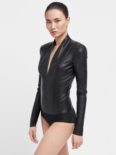 Wolford Edie Vegan Leather Bodysuit