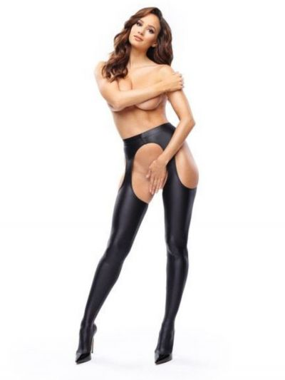 Miss O Strip Panty Suspender Tights