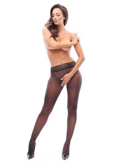 Miss O Crotchless Seamless Tights with Lace Waist