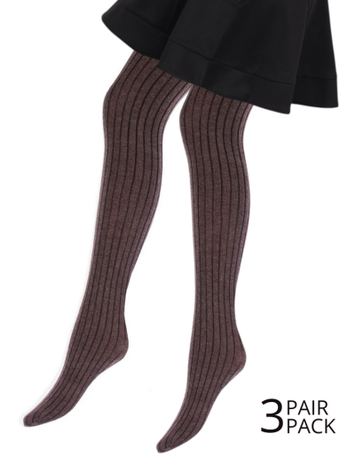 Giulia Canto Ribbed Cotton Tights 3 Pair Pack