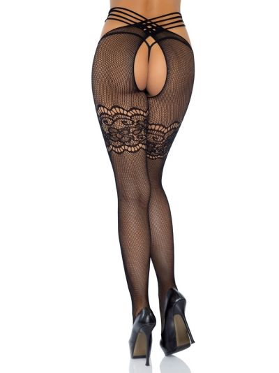 Leg Avenue Wrap Around Crotchless Net Tights