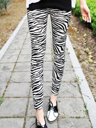 Silky Zebra Patterned Animal Print Leggings