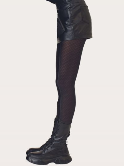 Oroblu Sustainable Fashion Geometric Patterned Black Tights