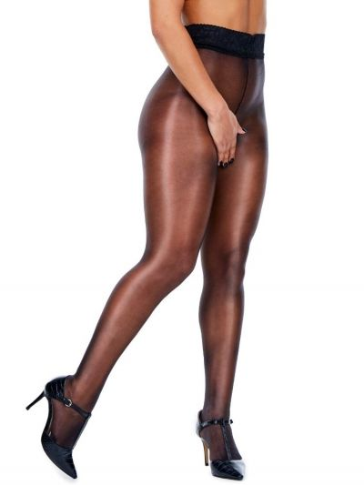Miss Naughty Oily Look & Feel Shiny Lace Top Seamless Crotchless Tights