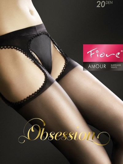 Scalloped edged suspender style crotchless tights packaging
