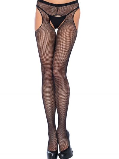 Fishnet suspender style open gusset pantyhose