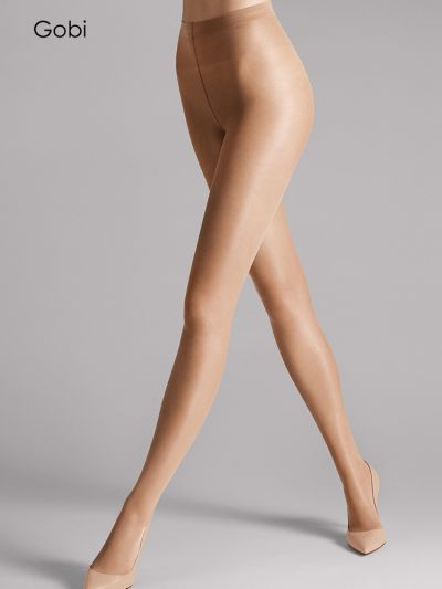 Gobi coloured satin touch sheer shiny wolford tights