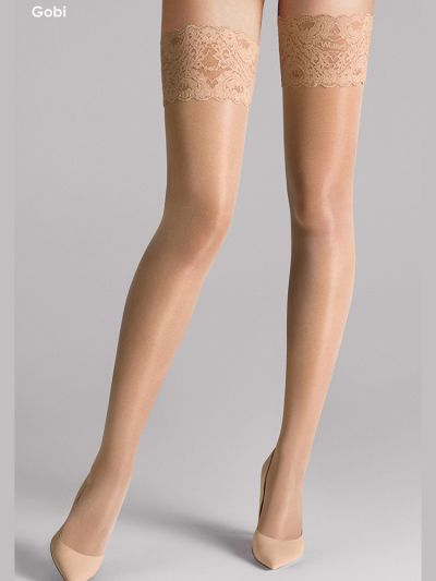 Wolford hosiery gobi coloured wide laced toped stay ups