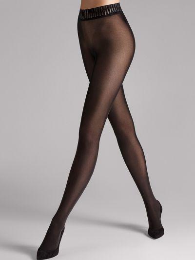 Black matt wide waist banded wolford pantyhose
