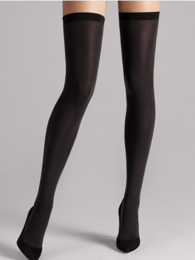 Wolford hosiery black opaque stay ups