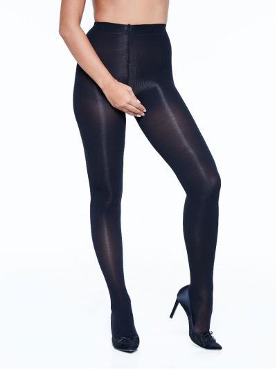 Thick opaque crotchless tights