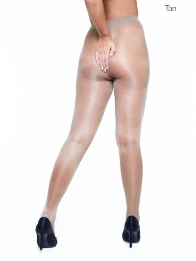 Tan coloured sheer gloss crotchless tights