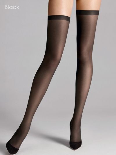 Wolford hosiery black sheer hold ups