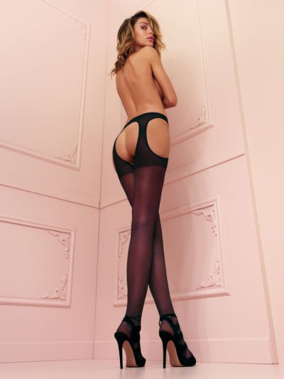Black strip panty open crotch tights