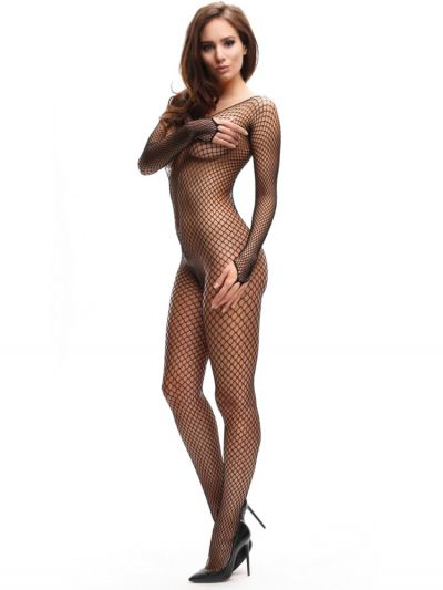Long sleeved fishnet crotchless tights bodystocking