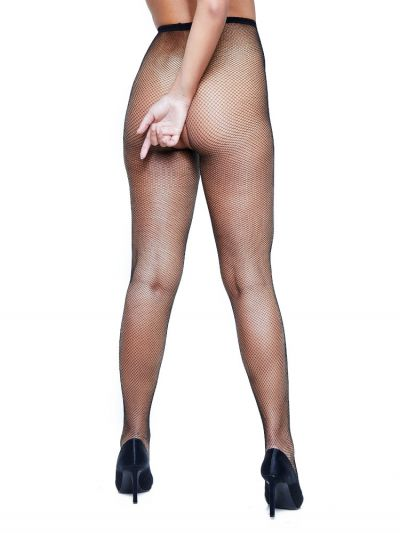 Black close net fishnet crotchless tights